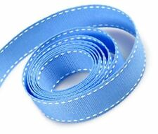 TRIMPLACE 5/8 INCH RIBBON WITH SADDLE STITCH -10 YARDS (CAPRI BLUE WITH WHITE SA