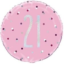 "18"" Pink & Silver Glitz 21 Foil Balloon 21st Birthday Party Decoration Helium"