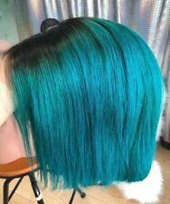 aqua green classy inverted angled thick bob lace front virgin human hair lob Wig