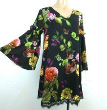 Philosophy Dress XS Black Floral Butterfly Lace Hem V-neck Shift Bell Sleeve