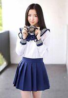 Japanese High School Girl Sailor Uniform Outfit Costumes Dress, shirt+ skirt