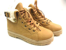 NEW WOMENS LADIES FLAT GRIP SOLE FUR LINED WINTER ANKLE BOOTS TRAINERS WARM ARMY
