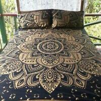 King Size Mandala Hippie Gypsy Indian Quilt Duvet Cover Black Gold Bedding Set