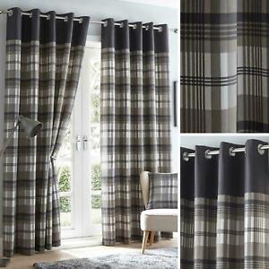 Grey Eyelet Curtains Tartan Check Modern Ready Made Lined Ring Top Pairs