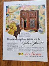 1946 RCA Victor Radio Phonograph Ad  Victrola Golden Throat