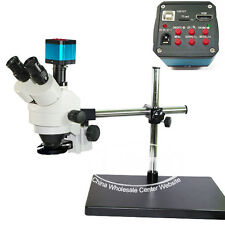 7X-45X Dual Arm Trinocular Industrial Stereo Microscope Set + USB HDMI Camera