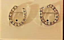 Clear Crystal Silver Horse Shoe Earrings - Stud Style - NEW!