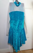 Girls Ice Skating Turquoise Velour Dress Skirted Leotard Size 3