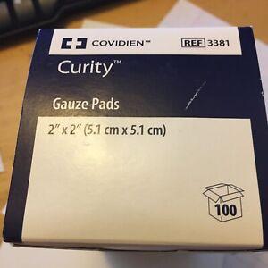 "2- Covidien Curity™ Gauze Pads 2"" x 2"" REF 3381 BOX of 100=200 QTY"