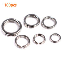 100Pcs/Set Fishing Solid Stainless Steel Snap Split Ring Lure Tackle Connector