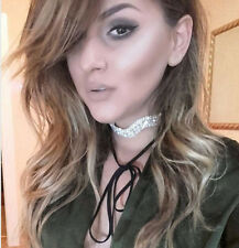 Choker Simple Velvet Rhinestone Crystal Wave Necklace Lace Tie Up Bowknot