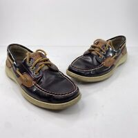 Sperry Top Sider Blue Fish Pattern Brown Loafers Boat Shoes Womens Size 7M 61428