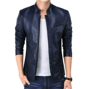 Men's Faux Leather Jacket Slim Fit Long sleeve Stand collar Outwear Zipper New D