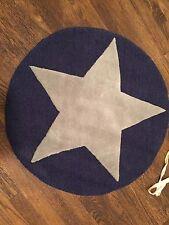 "Pottery Barn Kids Star 30"" Round Rug Carpet NWT Navy Gray"