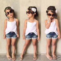 2pcs Fashion Toddler Kid Baby Girl Outfits+Tops T-shirt+Jeans Pants Clothes Set