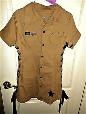 Air Force Army Mini Dress Costume/Club Lace Up Sides Studded Stars, Khaki w/Lace
