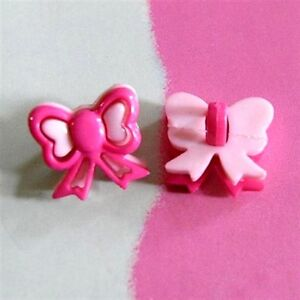 15 Bow Tie Novelty Girl Dress Craft Sewing Button Scrapbooking Hot Pink K597