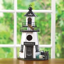 HOME GARDEN DECOR NAUTICAL NEST WHITE LIGHTHOUSE BIRD HOUSE BIRDHOUSE WOOD