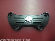 Black Skull Handlebar Top Clamp Softail Sportster FX Custom Bobber Chopper