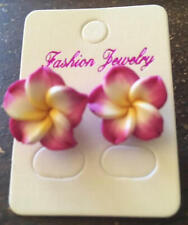 NEW Beautiful Hawaiian Plumeria Pink Flower Fimo Polymer Clay Pierced Earrings