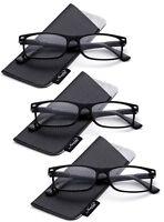 Bifocal Reading Glasses Spring Hinge Rectangular Frame Classic Slim Design Black