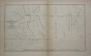 Original 1855 Map DUBUQUE Iowa Mississippi River Proposed Causey Railroad Bridge