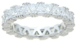 5 CT .925 STERLING SILVER TRIANGLE TRILLIANT ETERNITY RING BAND SIZE 5 6 7 8 9