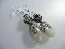 Vintage Art Deco Style Resin Faux Pearl Long Earrings Prom Boho Party