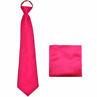New Polyester Men's ready knot pre tied neck tie & hankie solid formal hot pink