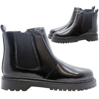 Womens Chelsea Ankle Boots Ladies Zip Block Heel Chunky School Work Shoes Size