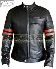 FIGHT CLUB stile (Brad Pitt) Uomo NERO / ROSSO FASHION LEATHER JACKET
