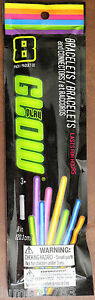 """GLOW BRACELETS & CONNECTORS HALLOWEEN 8 PACK 8"""" EASY TO ACTIVATE GLOW FOR HOURS"""