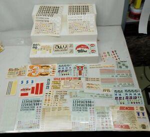 Vintage Plastic Car Model Kit Decal Sheets Large Lot Auto World Napalm Bomb etc