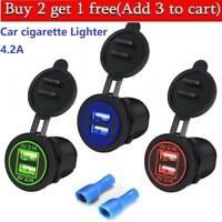 5V 4.2A Dual USB Charger Car Cigarette Lighter Socket Adapter Motorcycle