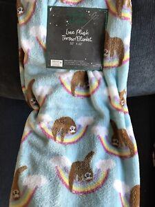 NWT Spring Garden Easter Rainbow Sloth Soft Plush Throw Blanket 50 x 60