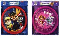 PAW PATROL WALL CLOCK CHILDRENS KIDS 24cm SKYE & EVEREST & MARSHALL CHASE RUBBLE
