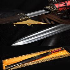 32' DAMASCUS FOLDED STEEL SHARP DRAGON  FUCHI  BLACK WOOD CHINESE 汉剑 HAN SWORD