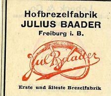 Julius Baader Freiburg i.B. hofbrezelfabrik trademark 1912