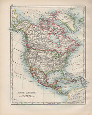 1899 Victorian Map ~ North America ~ United States Canada Mexico Central America