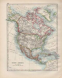 1899 VICTORIAN MAP ~ NORTH AMERICA ~ UNITED STATES CANADA MEXICO CENTRAL AMERICA