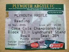 Ticket- PLYMOUTH ARGYLE v READING, Coca Cola Championship, 26 November 2005