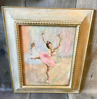 Vintage Mid Century Modern Gold Framed Ballerina Dancer Picture Art