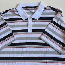 Adidas Golf Men's 2XL Black Gray Striped Polo Shirt Short Sleeve 100% Polyester