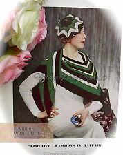 Vintage 1930s Knitting Pattern Lady's '3-Cornered' Scarf & Beret In 3 Colours