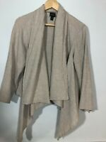 Eileen Fisher Cardigan Top Gauzy Blouse  Large Cotton Linen Open Front Waterfall
