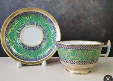 CUP AND SAUCER Russian IMPERIAL Porcelain Tzars GOLD SERVICE GREEN Lomonosov LFZ