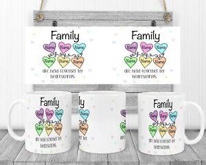 Personalised Family Heartstrings Keepsake Mug Gift Coffee/Tea, 2-8 Hearts