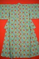 Vintage Japanese Wool Antique BORO KIMONO Kusakizome Woven Textile/XY24/720