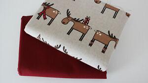 Stoffpaket Canvas-Baumwolle Elch+ Canvas uni bordo 2 x 50 x 140/ 150 cm