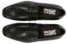 NEW SALVATORE FERRAGAMO FIRMATO LUXURY BLACK LEATHER LOAFERS SHOES 10.5 EEE